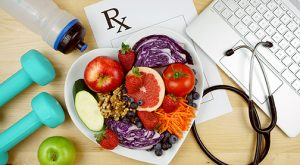 Healthy weight loss for obesity salad, prescription, exercise, stethoscope